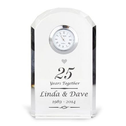 Personalised 25th Silver Wedding Anniversary Crystal Clock